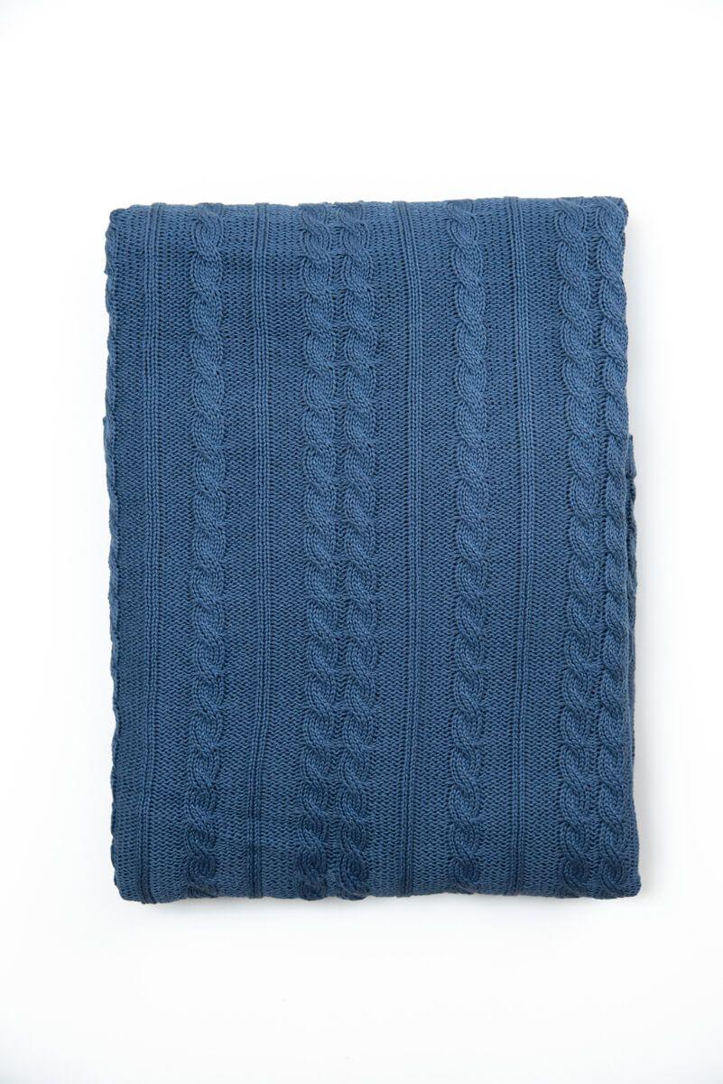 Manta Decorativa Antialérgica Tricot Azul