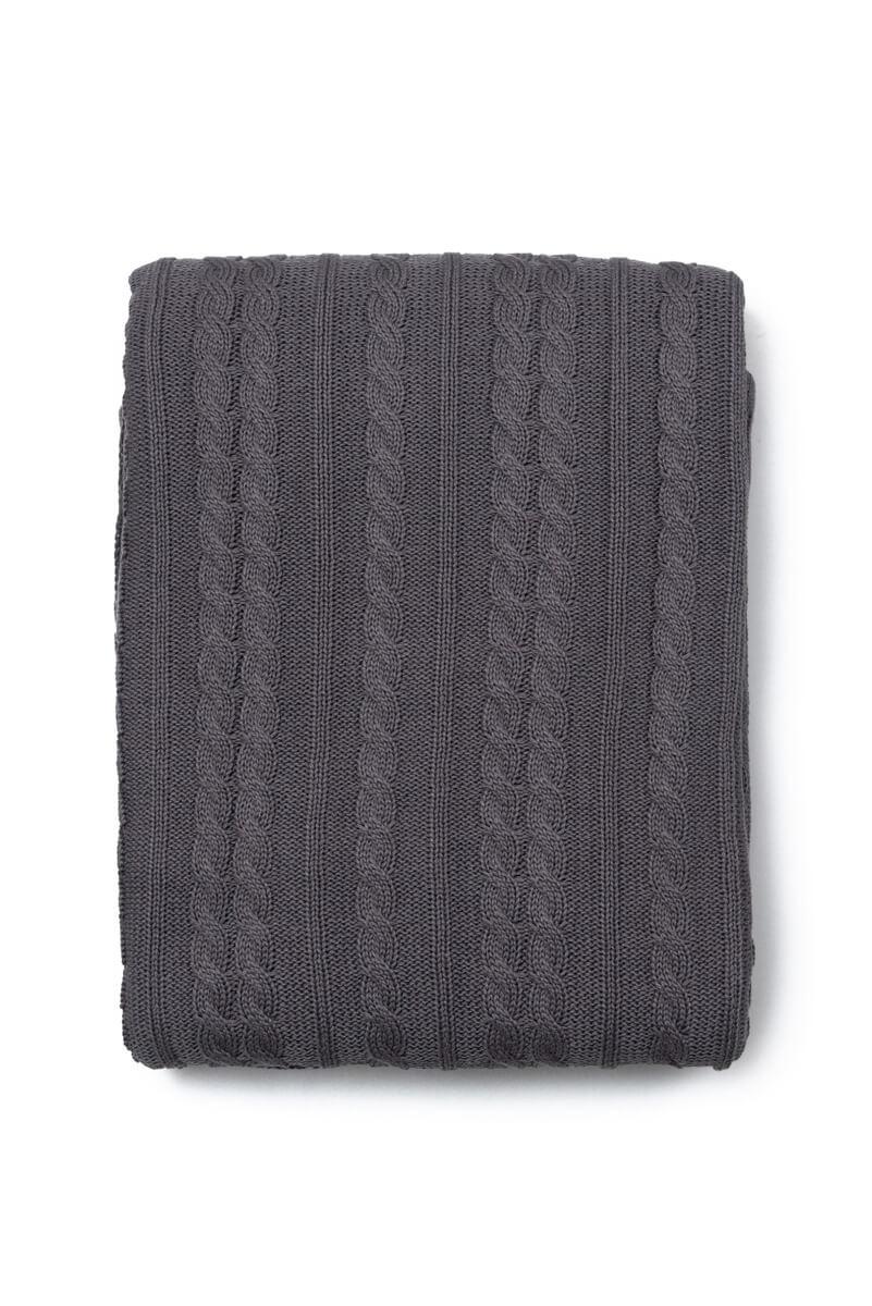 Manta Decorativa Antialérgica Tricot Cinza Escuro