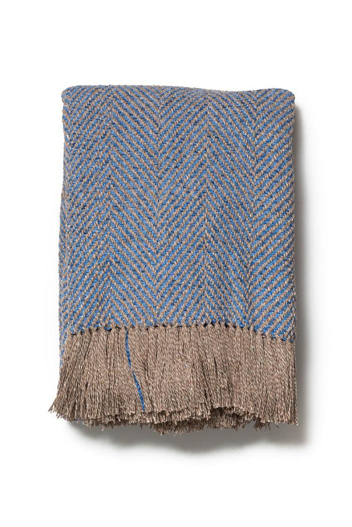 Manta Decorativa Astral Algodão Azul Claro Bege 120x180