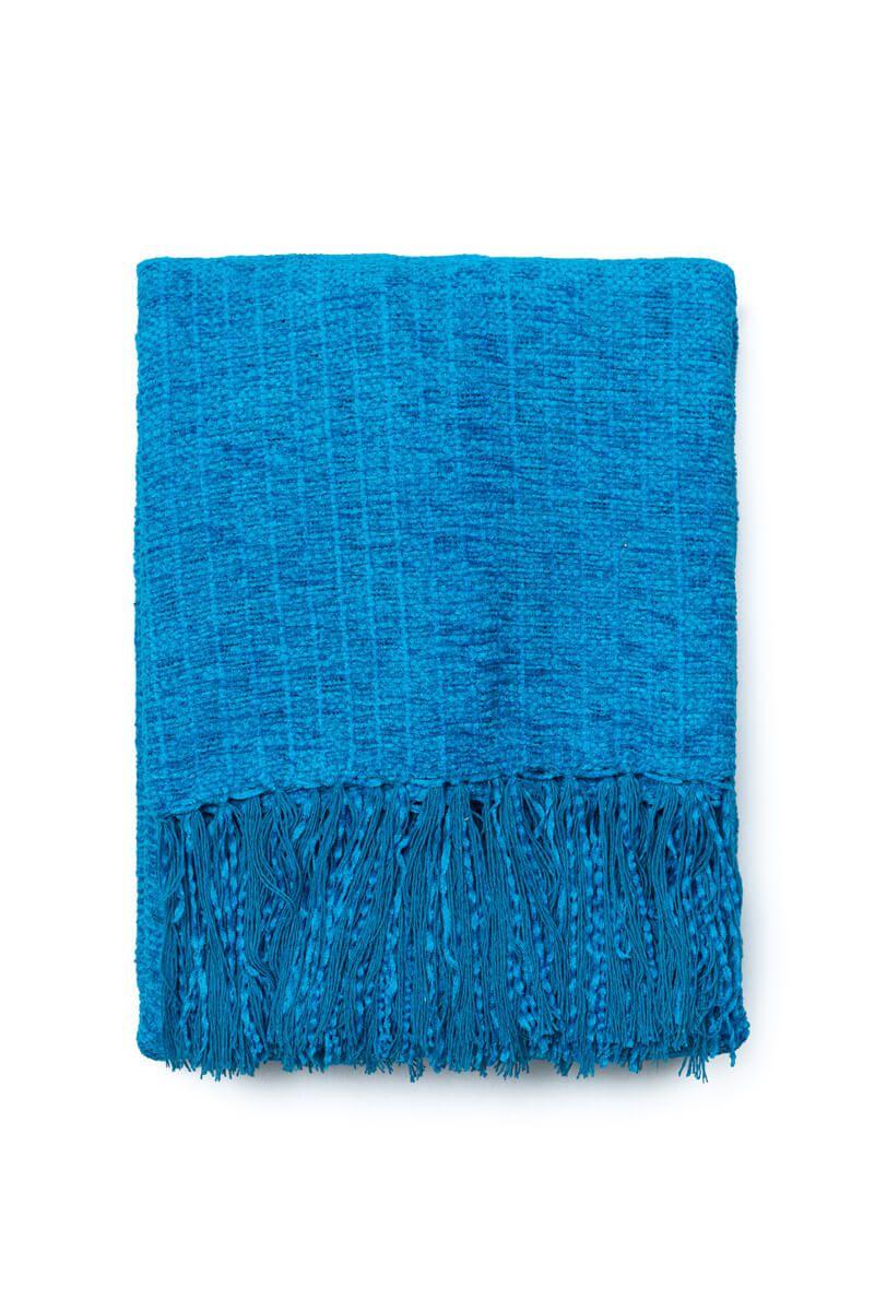 Manta Decorativa Chenille Azul Celeste 120x180