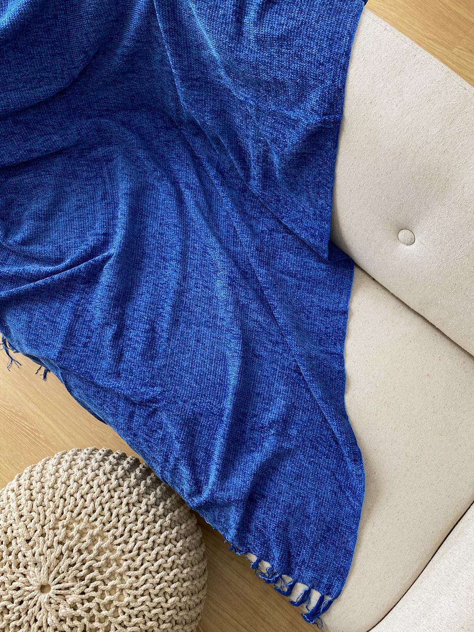 Manta Decorativa Chenille Azul Jeans 115x180