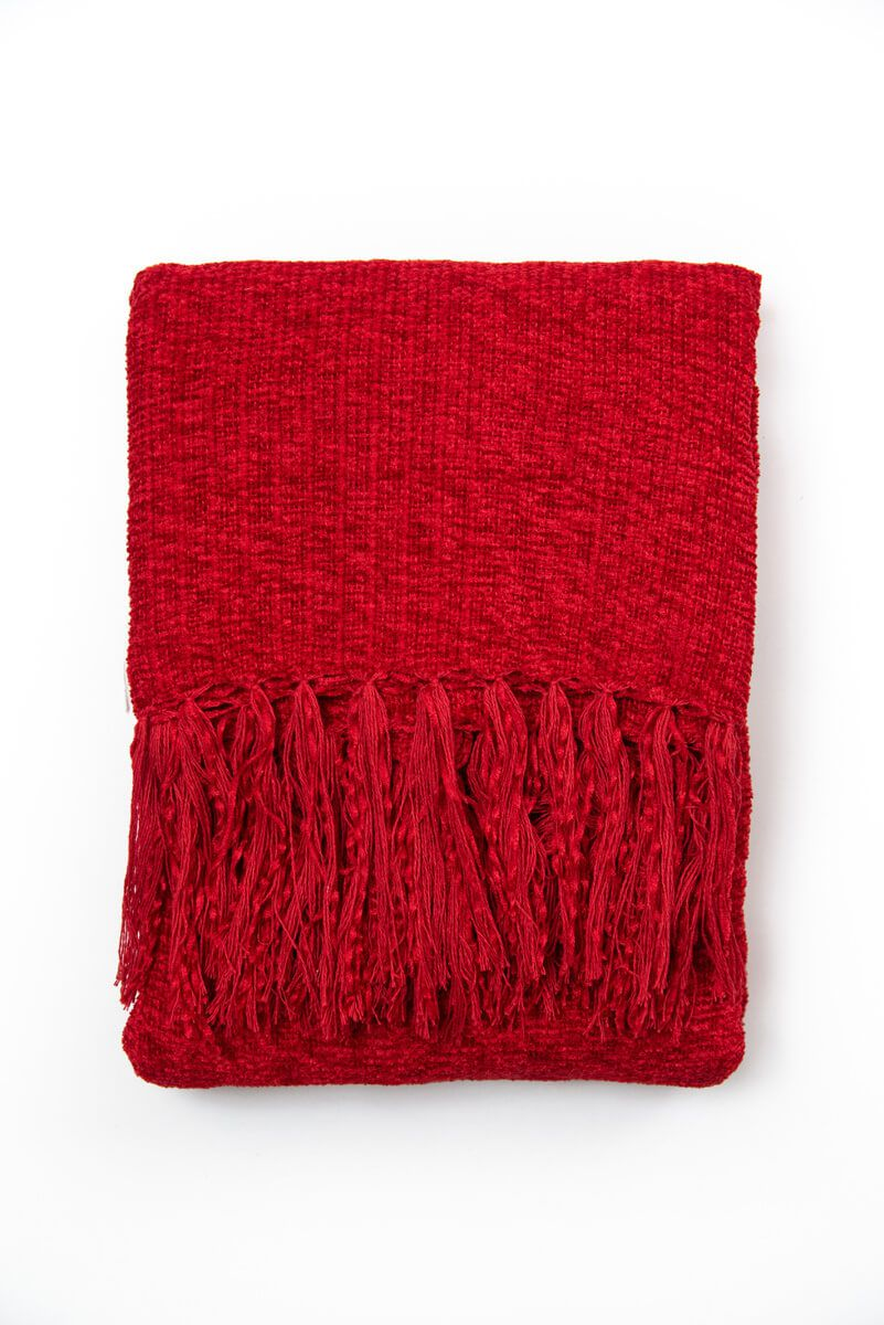 Manta Decorativa Chenille Vermelho 120x180