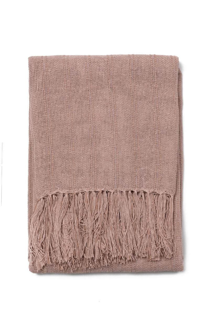 Manta Decorativa Lirio Algodão Rosa Antigo 120x180