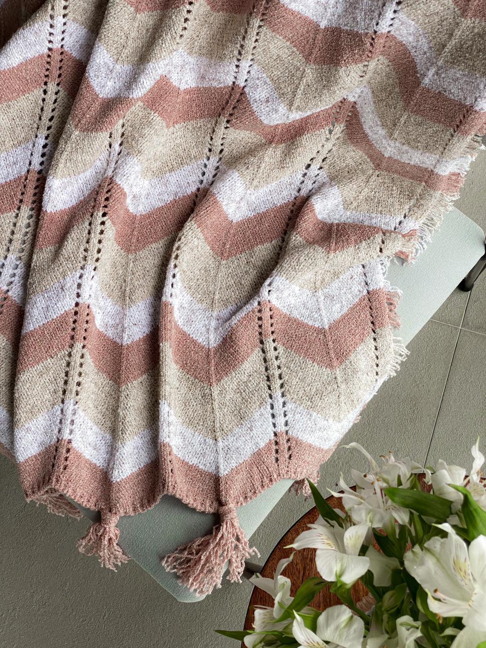 Manta Decorativa Tricot Chevron Rosa