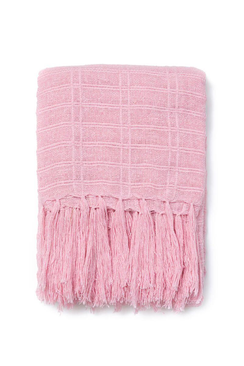 Manta Decorativa Algodão Rosa Claro 140x180