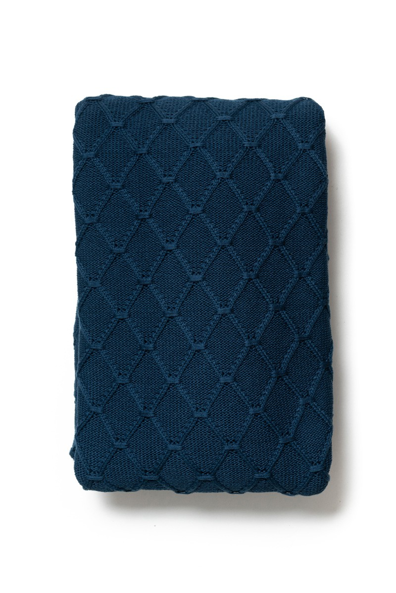Peseira Antialérgica Tricot Losango Azul Marinho 120x220