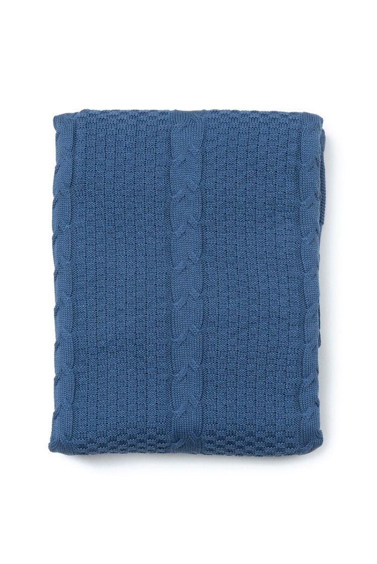 Peseira Antialérgica Tricot Quadrados Azul 120x220