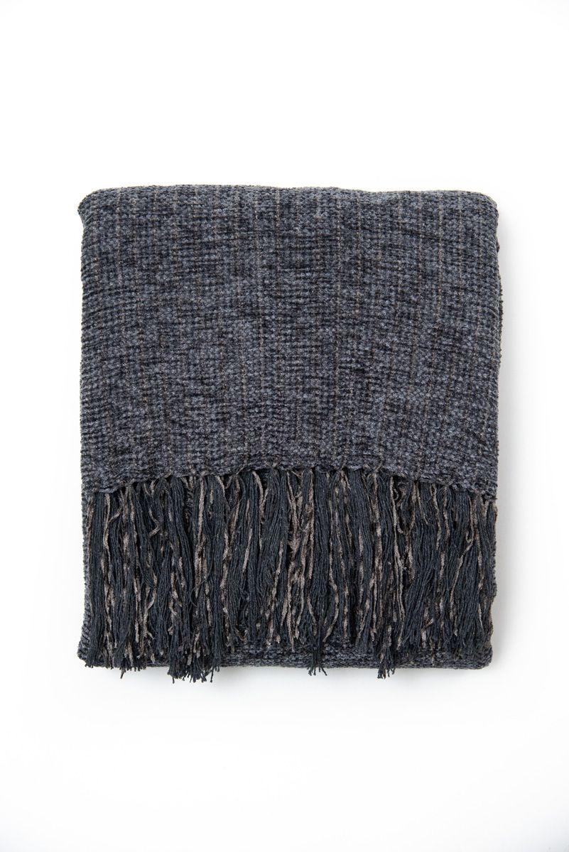 Manta Decorativa Chenille Cinza Escuro 230x155