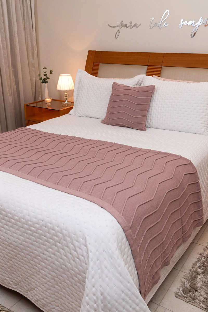 Peseira Decorativa Antialérgica Linhas Tricot Rosa Antigo 120x220