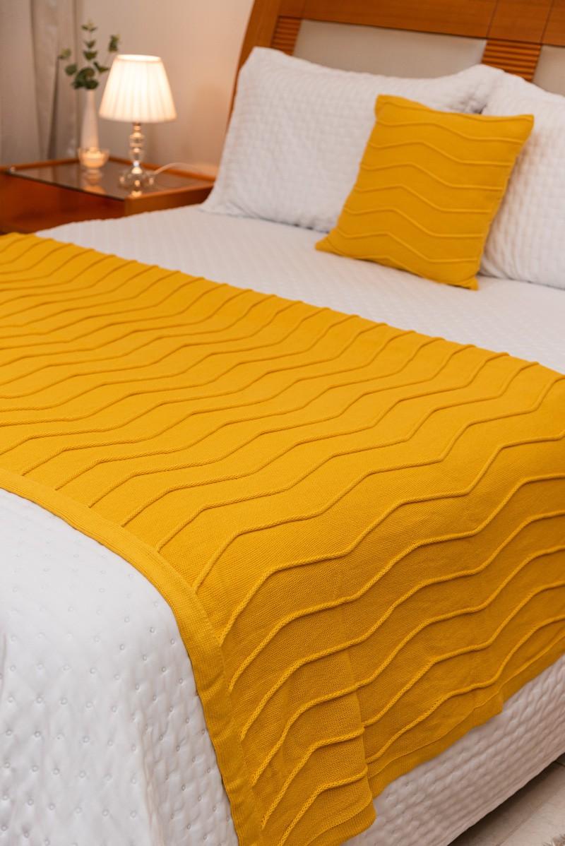 Peseira Decorativa Antialérgica Linhas Tricot Amarelo 120x220
