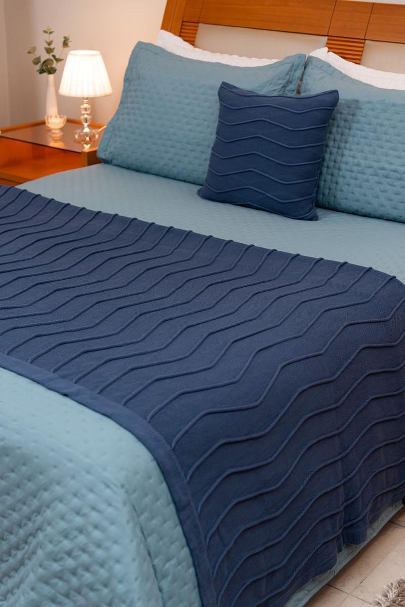 Peseira Decorativa Antialérgica Linhas Tricot Azul Escuro 120x220