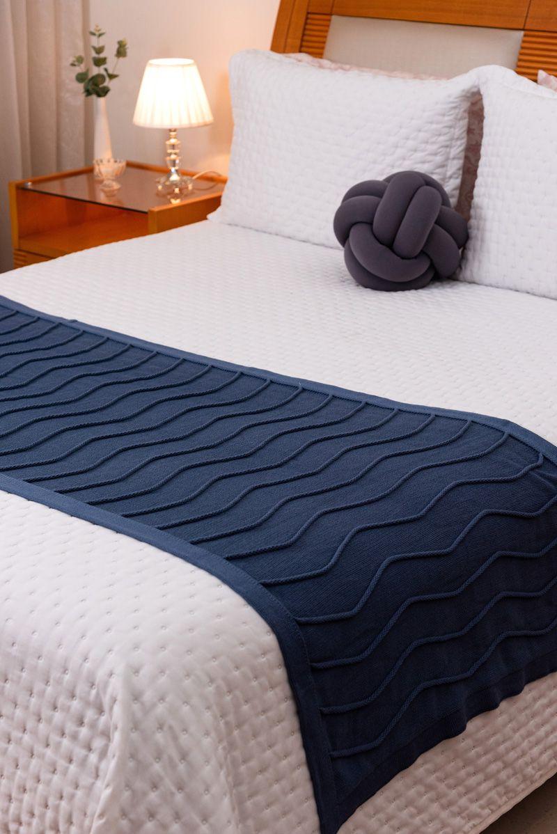 Peseira Decorativa Antialérgica Linhas Tricot Azul Escuro 70x180