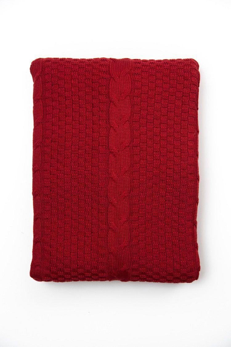 Peseira Decorativa Antialérgica Tricot Quadrados Vermelho 120x220