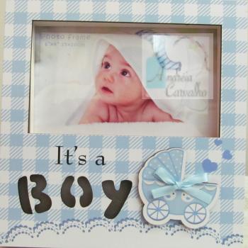 Porta-Retrato Infantil com Luz de LED Horizontal Azul