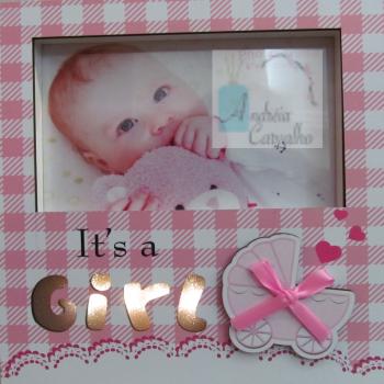 Porta-Retrato Infantil com Luz de LED Horizontal Rosa