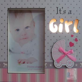 Porta-Retrato Infantil com Luz de LED Vertical Rosa