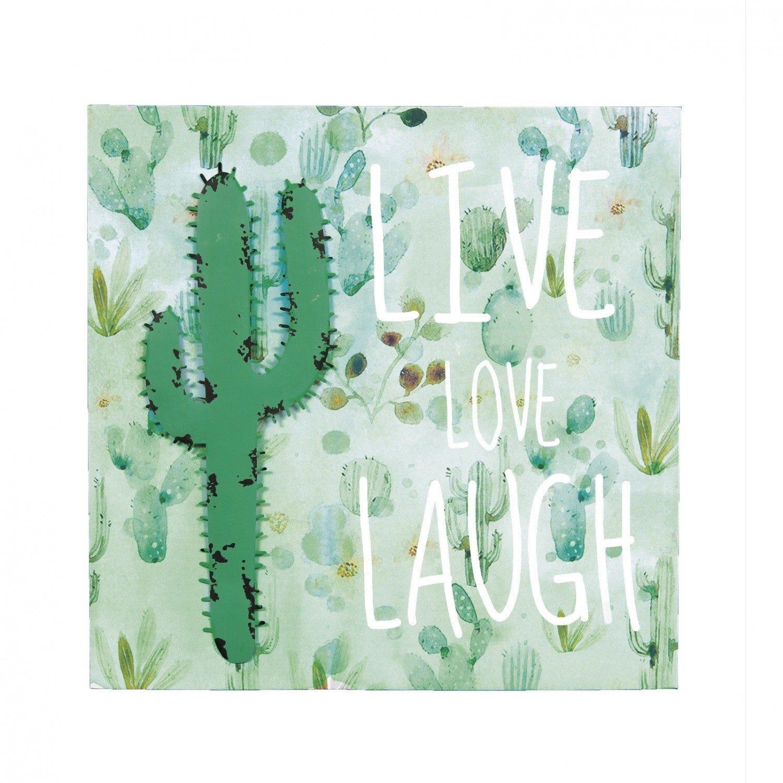 Quadro Decorativo Cacto Live Love Laugh Mart Collection 40x40x1,5