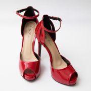 Sapato D'orsay Vermelho com Recorte