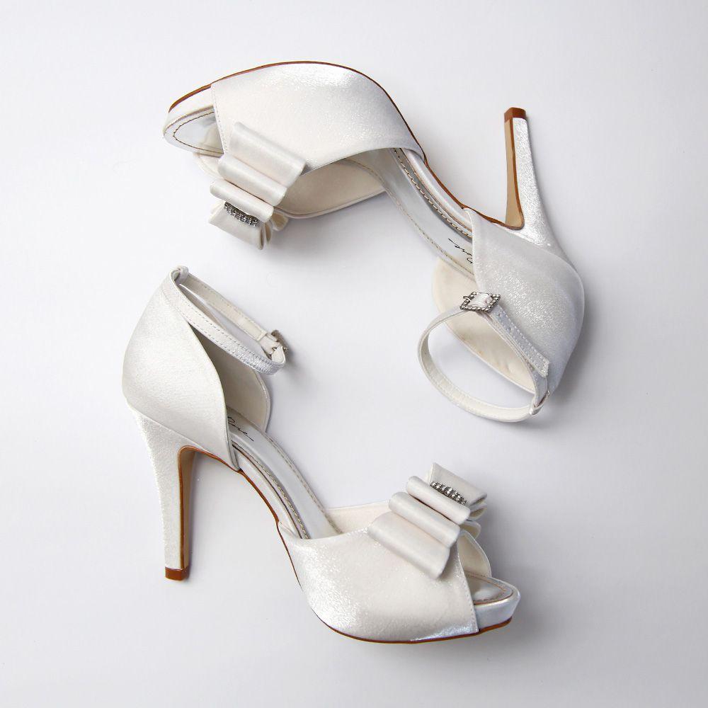 Sapato D'orsay Branco com Laço e Strass