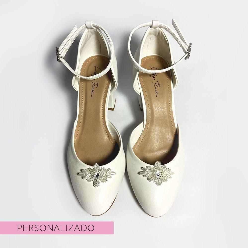 Sapato D'orsay Branco Salto Bloco
