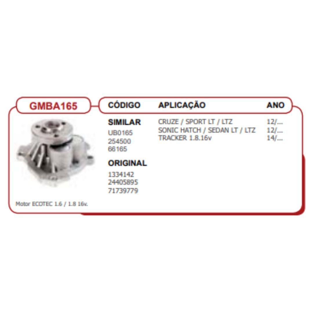 Bomba dagua Cruze Sonic-Tracker 1.8 16V Tds Mt Ecotec