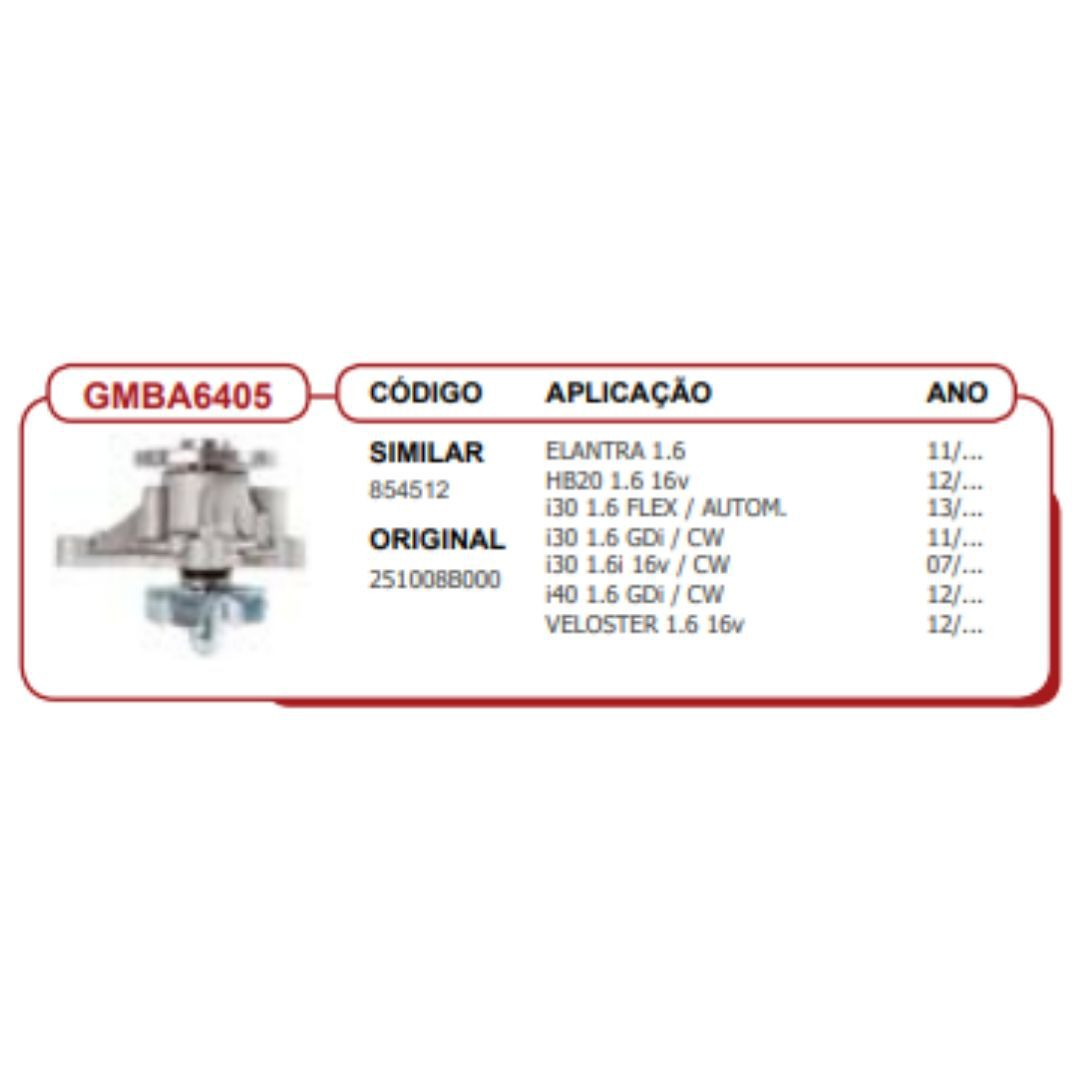 Bomba dagua Hb20-I30-Veloster-Cerato-Soul 1.6-GMBA6405