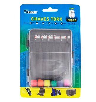 Jogo de Chaves Torx 6 Peças (T5/T6/T7/T8/T9/T10) - Western T-15