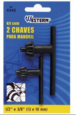Kit com 2 chaves mandril 13/10mm (1/2 e 3/8)-western