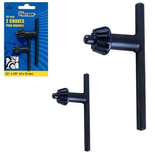 Kit com 2 chaves mandril 13/10mm (1/2 e 3/8)-western