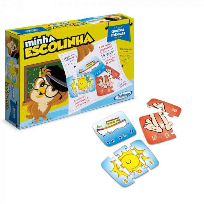 Jogo Quebra-cabeças Soletrar Minha Escolinha 24 Peças em Madeira