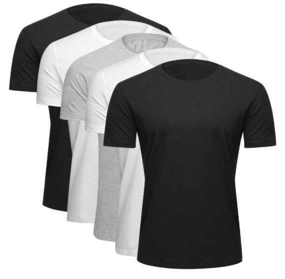 Kit c/ 05 Camisetas Básicas Masculinas Algodão