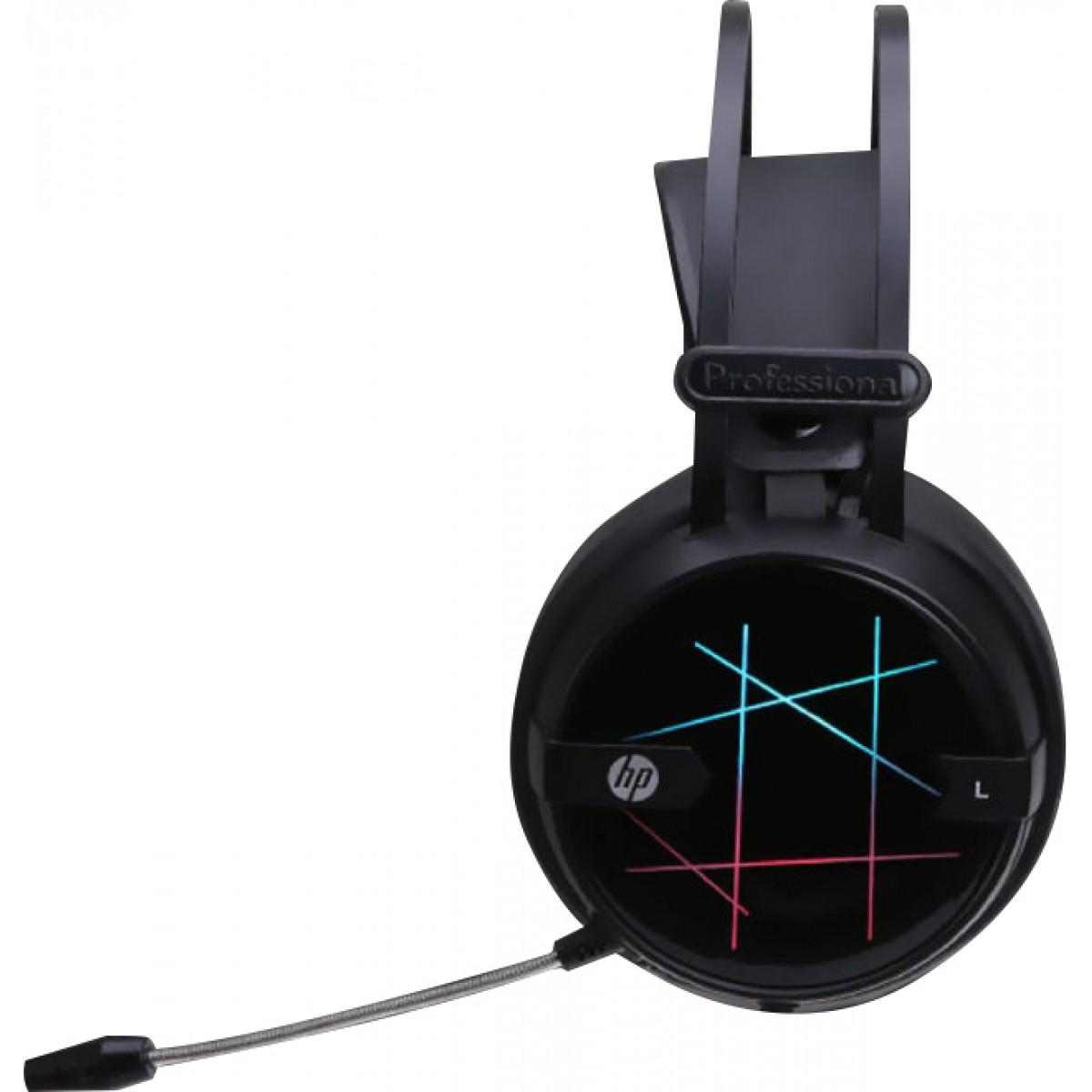 FONE C/MICROFONE HP GAMER STEREO USB H160G LED PRETO-Garantia: 365 dias