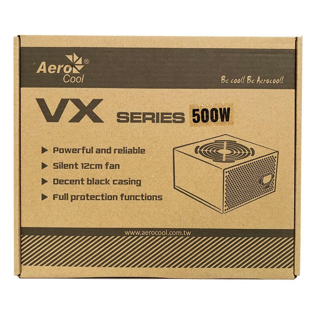 FONTE ALIMENTACAO ATX AEROCOOL 500W VX-500 C/CAIXA S/CABO BIVOLT CHAVEADA