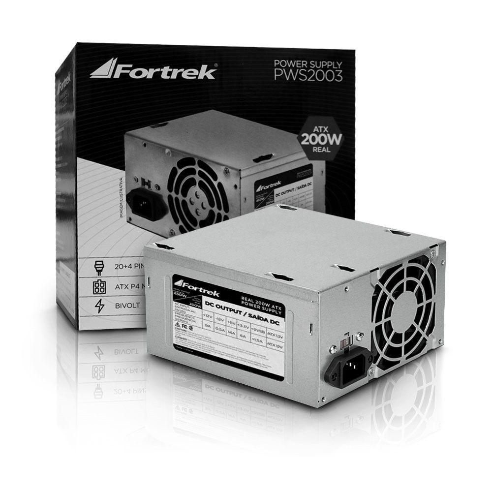 FONTE ATX 200W REAL 24 PINOS S/ CABO/FORTREK