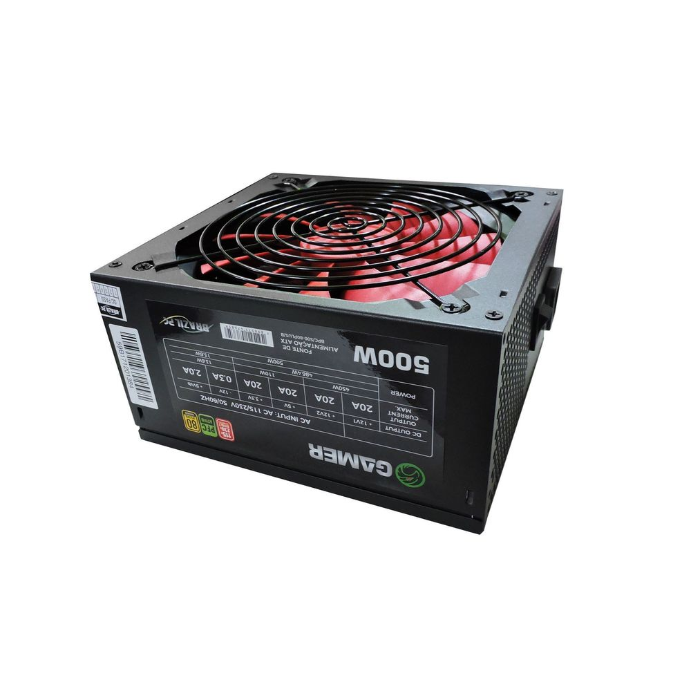FONTE ATX 500W REAL 80PLUS BRONZE BRAZILPC BPC/500-80PLUS/B 24 PINOS BOX