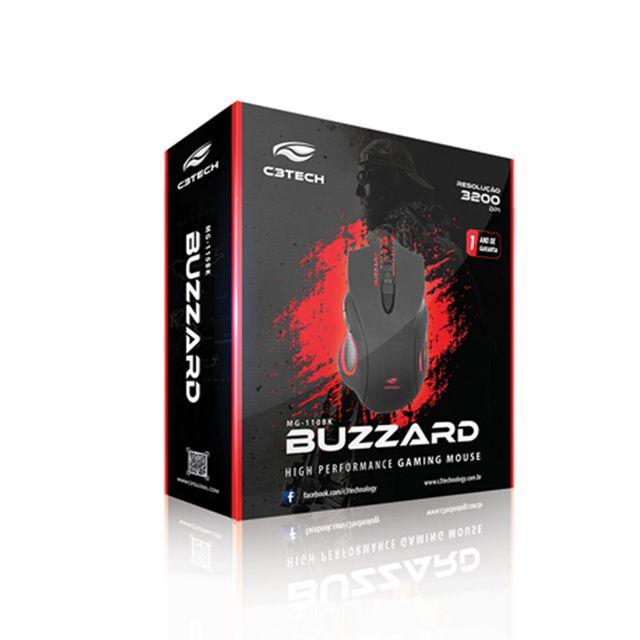 Mouse C3 Tech Gamer MG-110BK BUZZARD USB 3200DPI - PRETO