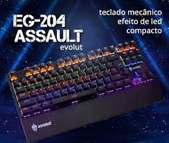 TECLADO GAMER MECANICO EG204 ASSAULT (BLUE SWITCH) COM FIO EVOLUT .