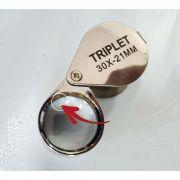 Lupa de Bolso Triplet de 30X - Deruite | Com Pequenos Defeitos