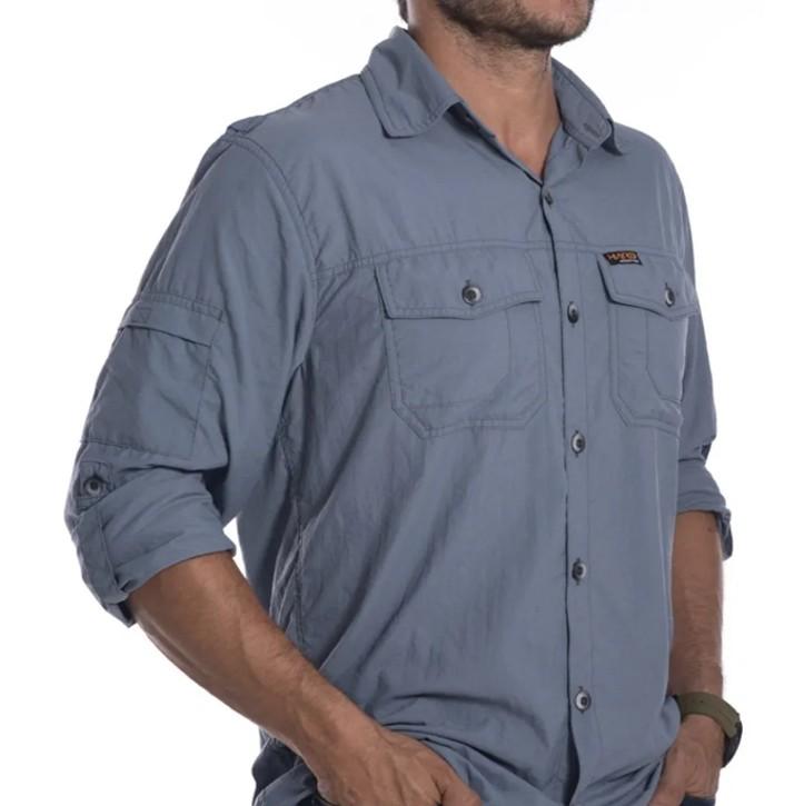 Camisa Safári Hard Adventure Masculina | Cinza Azulado