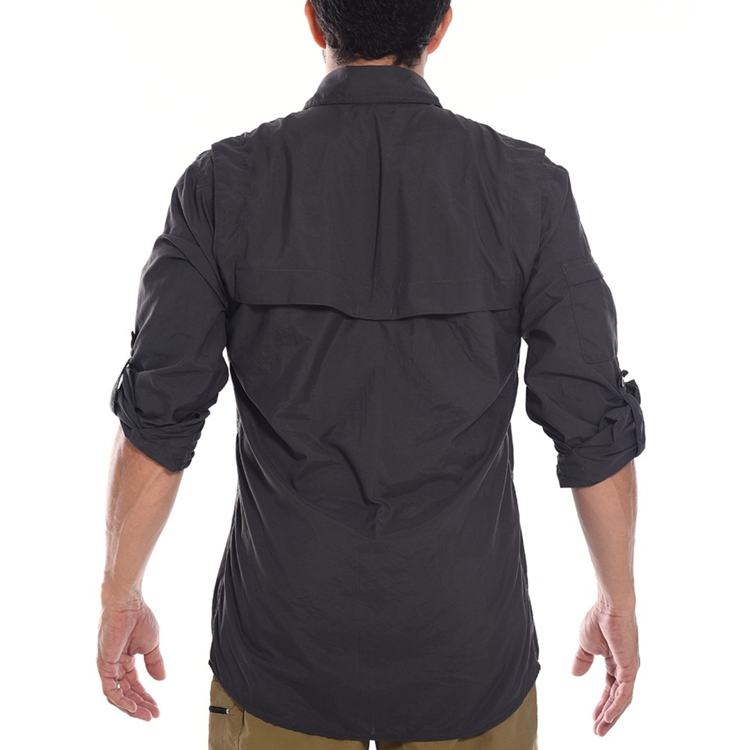 Camisa Safári Masculina Chumbo   Hard Adventure