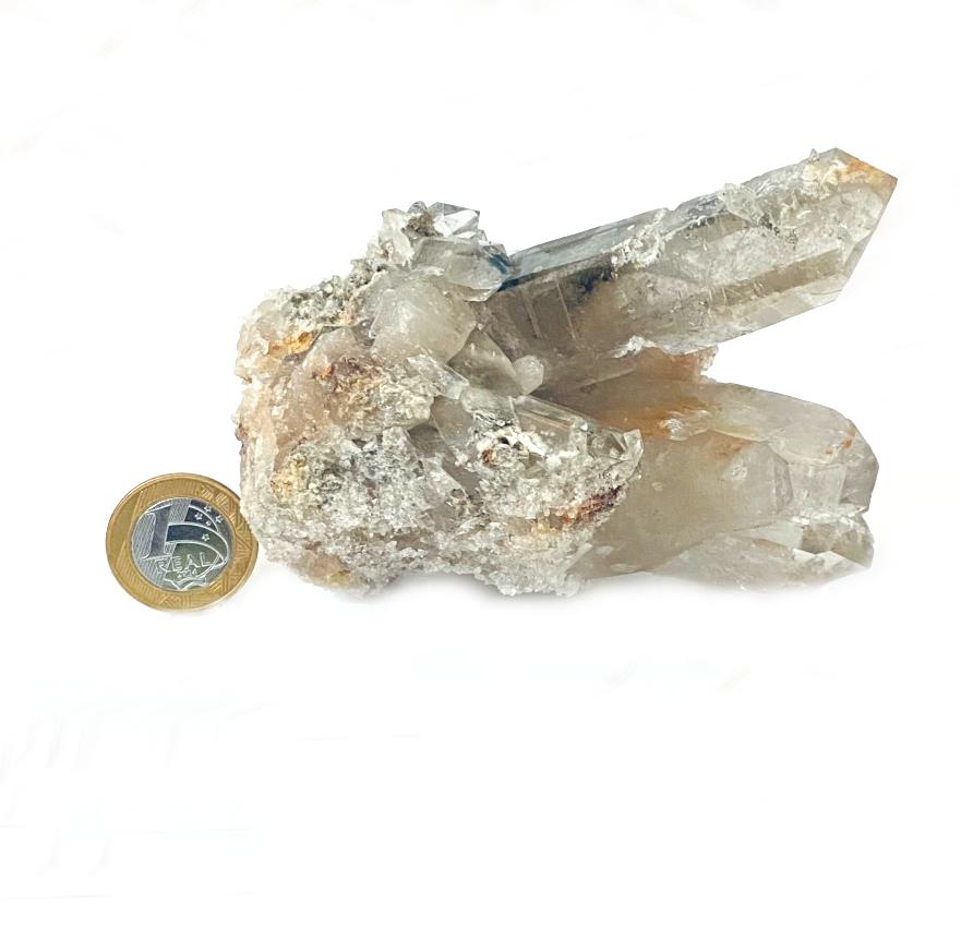 Drusa de Cristal com Quartzo Fumê