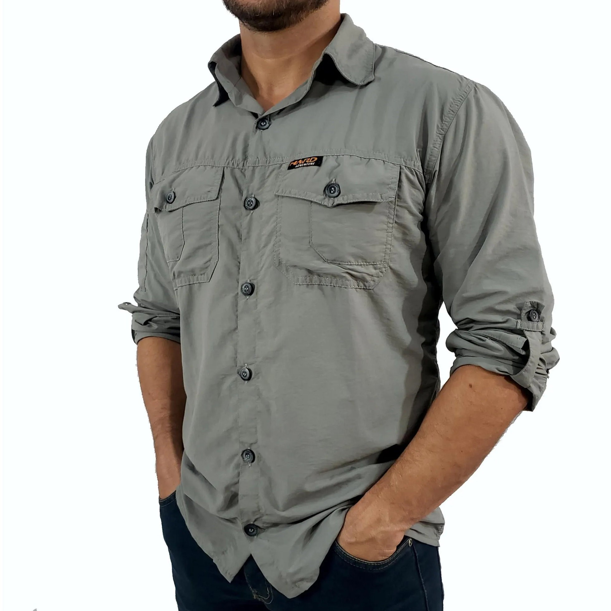 Camisa Safári Hard Adventure Masculina | Cimento