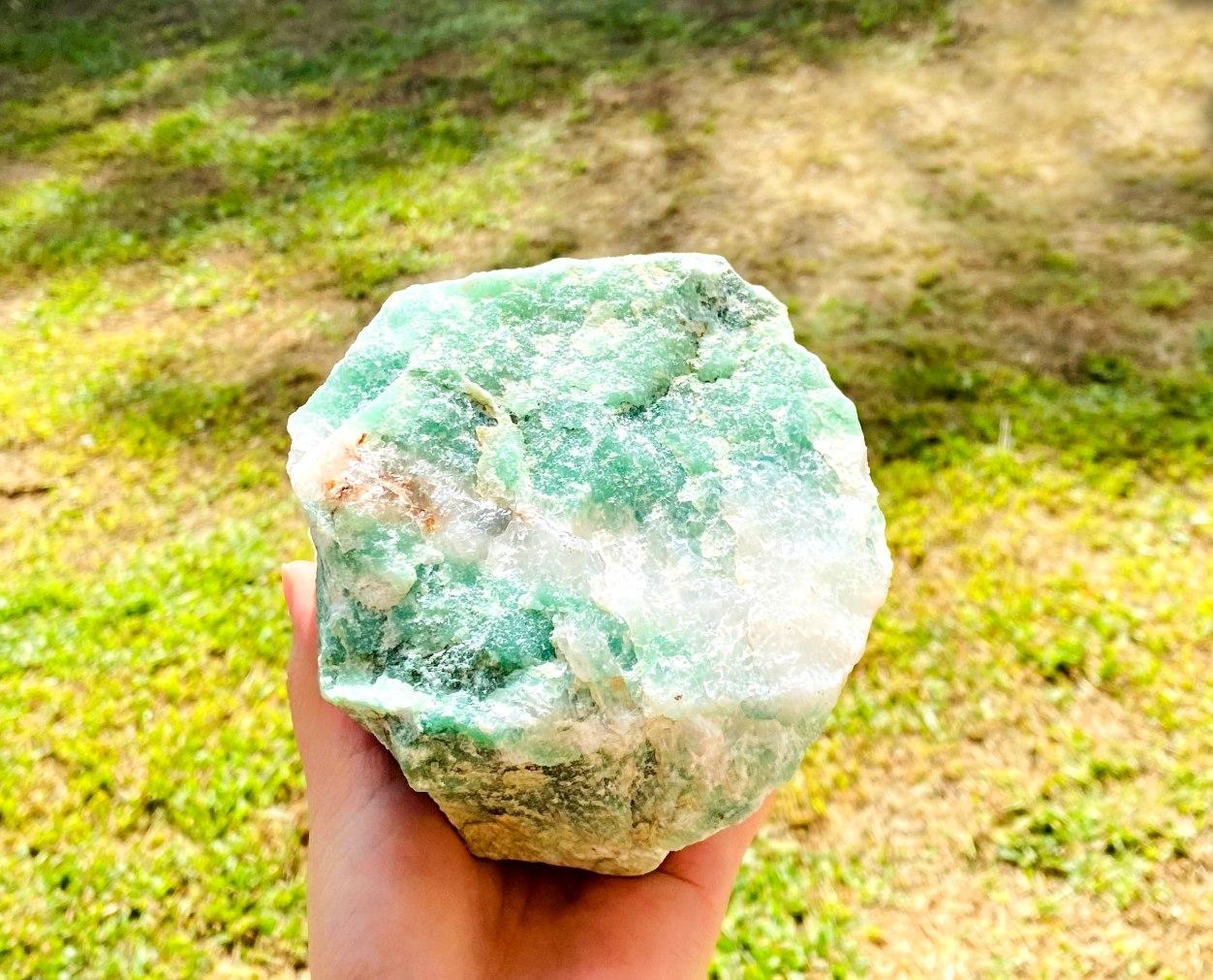 Quartzo Verde com Cristal Bruto  | 14 cm | 1,680 Kg