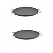 2 Forma de Pizza Ferro Fundido 30cm C/ Suporte Panela Mineira