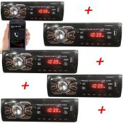 5 Peças Auto Radio Automotivo Bluetooth Mp3 Usb Som Carro
