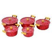 Jogo 5 Panela Alumínio Batido Craqueada Caçarola Vermelha