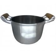 Caldeirão Aluminio Polido Para Feijão 16 cm 1,7 Litros Alça de Madeira