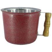 Caneca Leiteira Fervedor de Alumínio Batido Craqueado  Vermelho 1 Litro