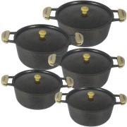 Jogo 5 pçs Panela Caçarola Ceramica Com Tampa Em Alumínio Prensado Preto