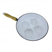 Frigideira 4 Ovos 24cm Alumínio Craqueado Revestida com Cerâmica PM Cabo Madeira